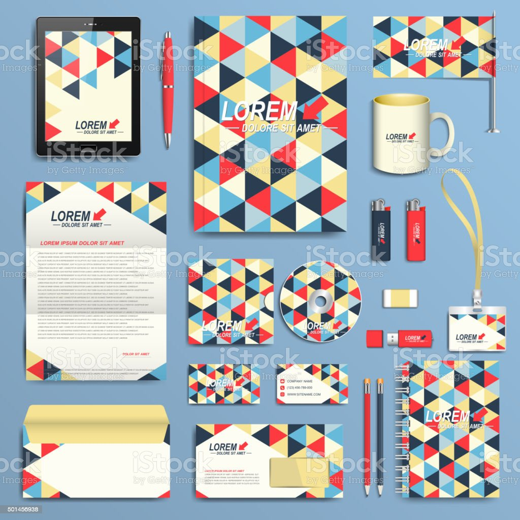 set of vector corporate identity template modern business stationery
