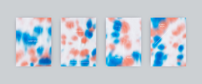 Set of vector cover templates. Blue and pink spots