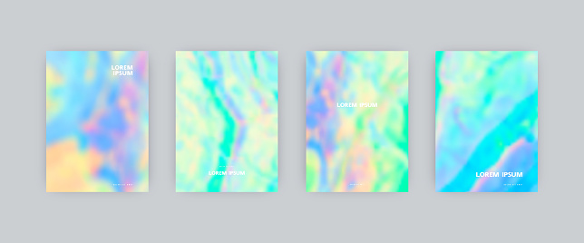 Set of vector cover templates in iridescent soft colors