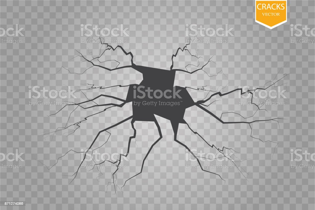 Set of vector cracks isolated on transparent background vector art illustration