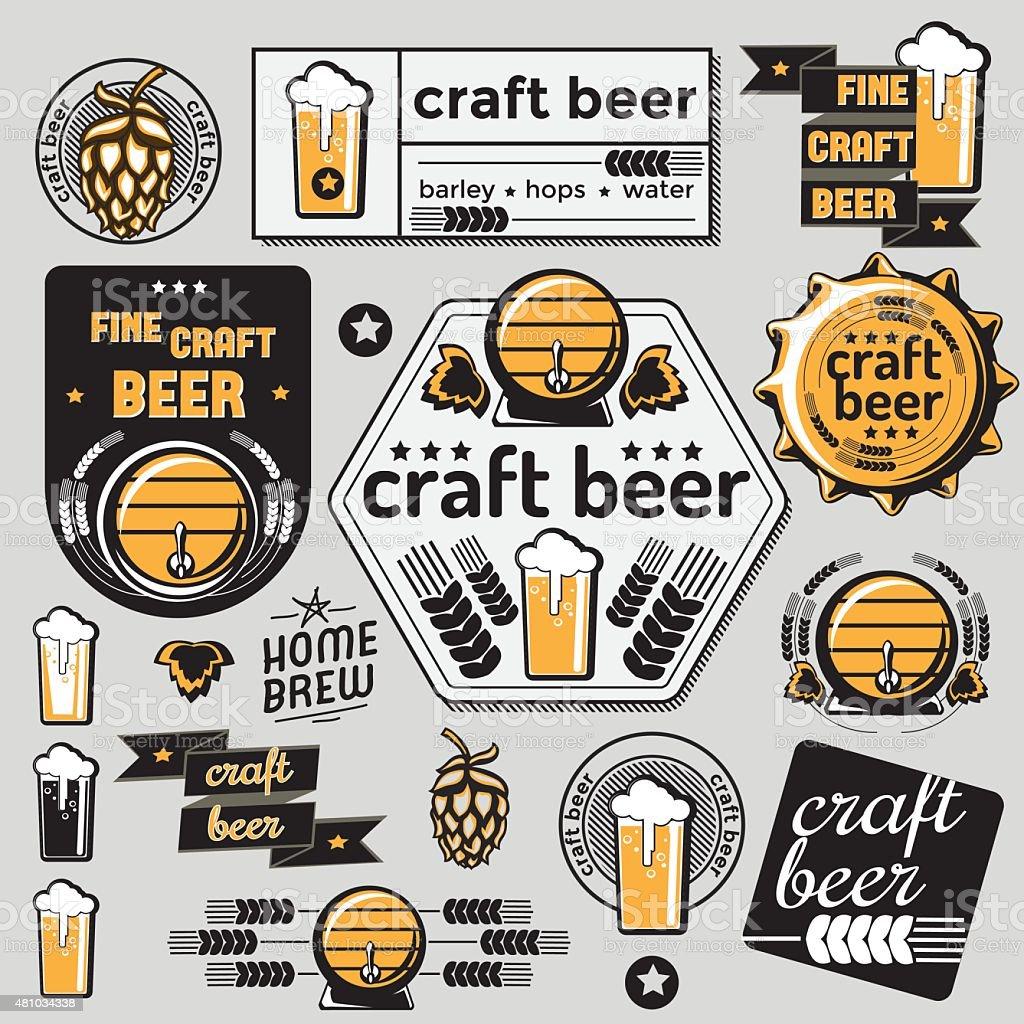 Set of vector craft beer emblems vector art illustration