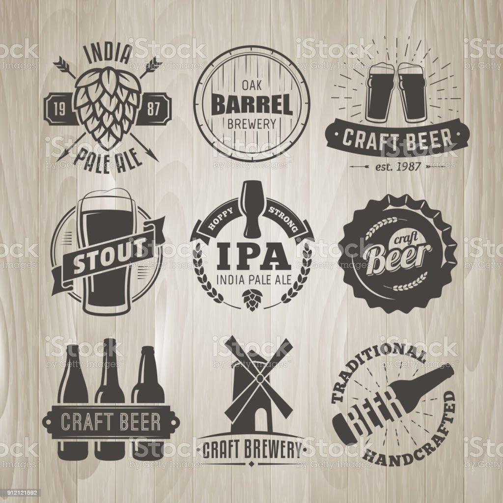 Set of vector craft beer logos and badges. vector art illustration