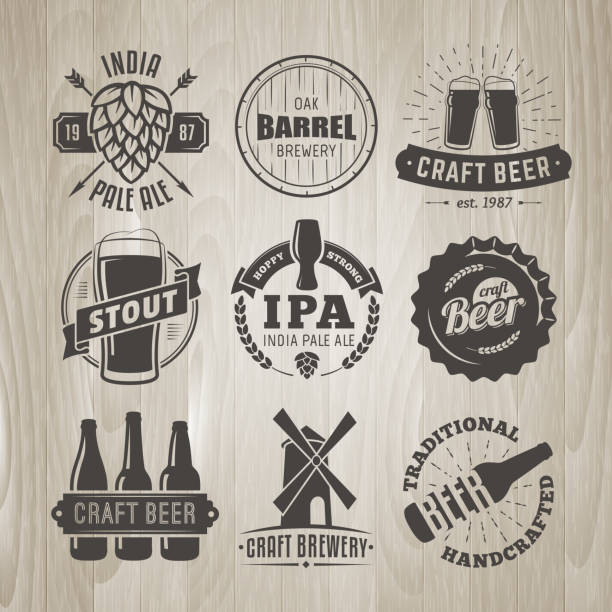 set of vector craft beer logos and badges. - jumping stock illustrations