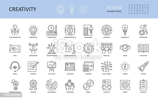 Set of vector creativity icons. Editable Stroke. Idea generation preparation inspiration influence originality, concentration challenge launch. UX design, technology teamwork motivation reward