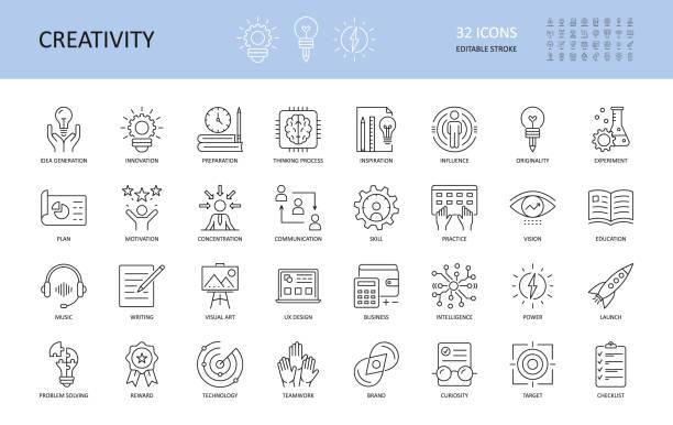 zestaw ikon kreatywności wektorowej. edytowalny obrys. inspiracja do przygotowania do generowania pomysłów wpływa na oryginalność, uruchomienie wyzwania koncentracji. ux design, technologia praca zespołowa nagroda motywacji. - biznes stock illustrations
