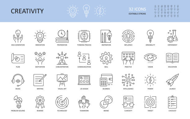 set of vector creativity icons. editable stroke. idea generation preparation inspiration influence originality, concentration challenge launch. ux design, technology teamwork motivation reward. - business stock illustrations