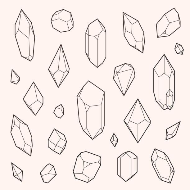 bildbanksillustrationer, clip art samt tecknat material och ikoner med set of vector crystal shapes - kristall