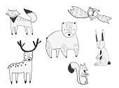 Set of vector cute doodle forest animals