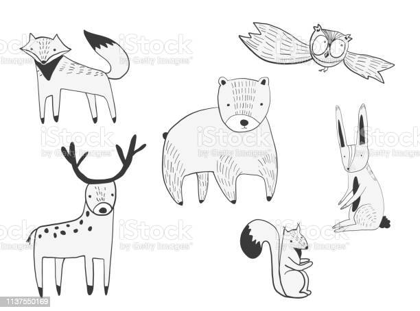 Set of vector cute doodle forest animals vector id1137550169?b=1&k=6&m=1137550169&s=612x612&h=0mtkrhfbxnlpejiuhdqff8i8kimmawtdw2taa9akxc8=