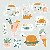 Set of vector cute doodles illustrations with text and graphic design elements. Trendy design for kid stickers, print for t-shirt