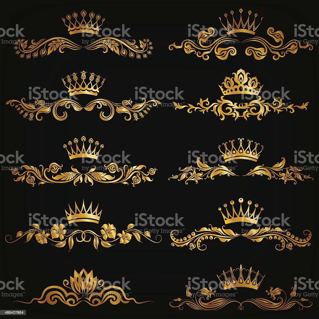Set of vector damask ornaments vector art illustration
