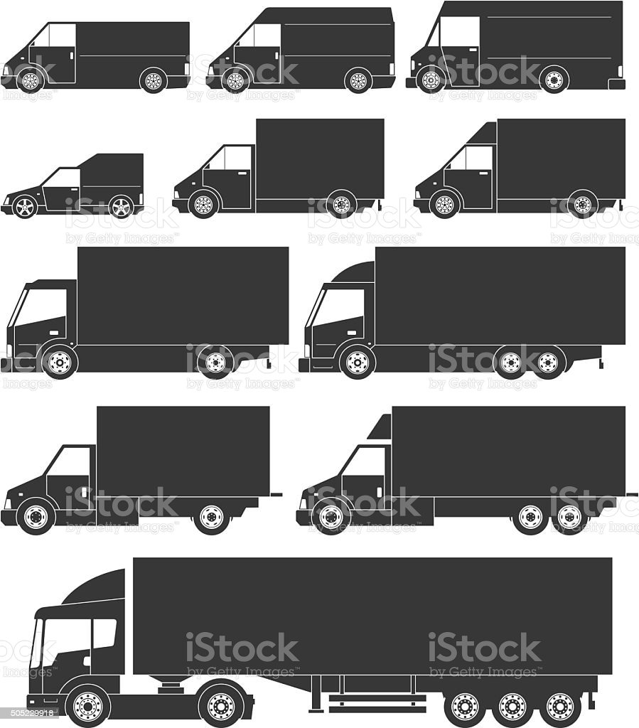 Set of vector delivery cars icons vector art illustration