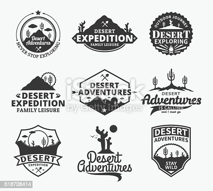 Set of vector desert adventures labels. Desert wild nature icons for tourism organizations, outdoor adventures and camping leisure.