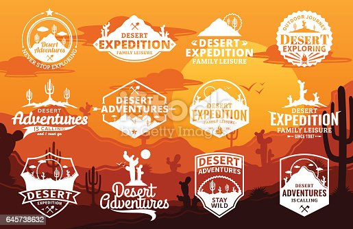 Set of vector desert and outdoor adventures logo on desert landscape background. Desert wild nature icons for tourism organizations, outdoor events and camping leisure