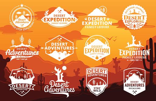 Set of vector desert and outdoor adventures logo