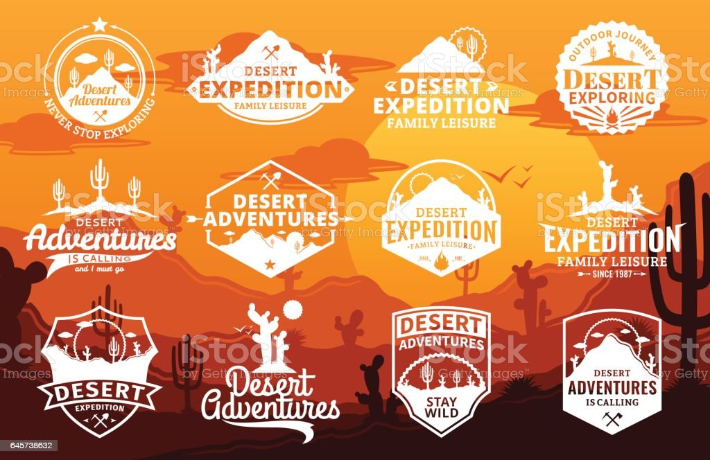 Set of vector desert and outdoor adventures logo vector art illustration