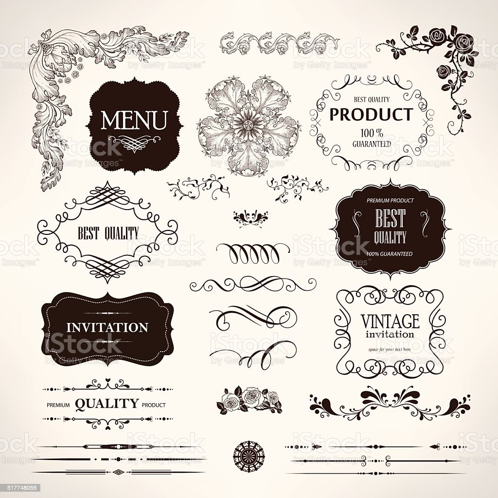 Set of vector design elements and calligraphic page decoration vector art illustration