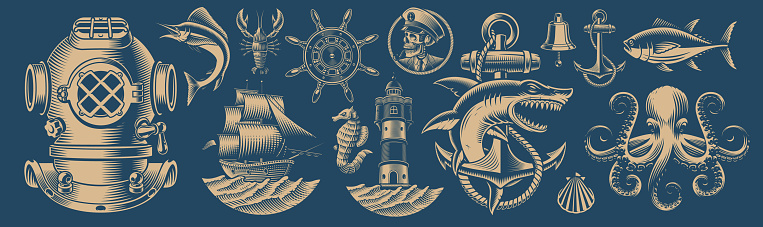Set of vector design elements for nautical theme