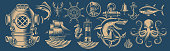 Set of vector design elements for nautical theme on a dark background