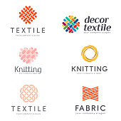 Set of vector design elements for shop knitting, textile