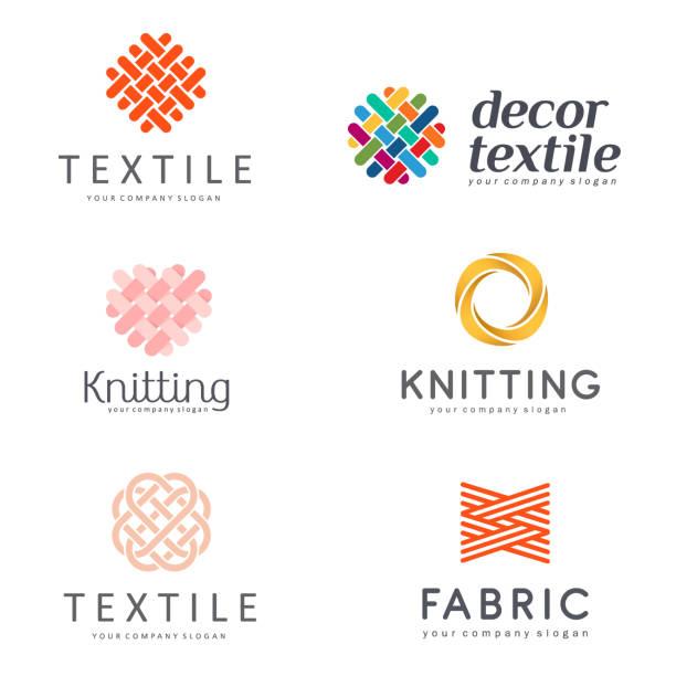 車間針織、紡織的向量設計項目集 - 紡織品 幅插畫檔、美工圖案、卡通及圖標