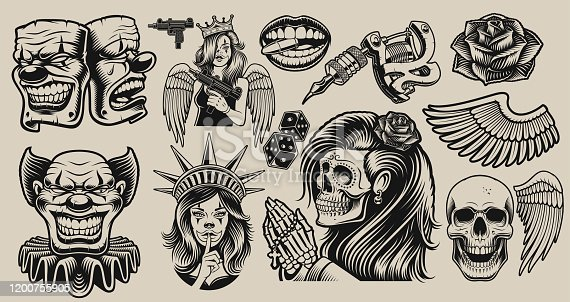 Set of vector design elements for tattoo theme