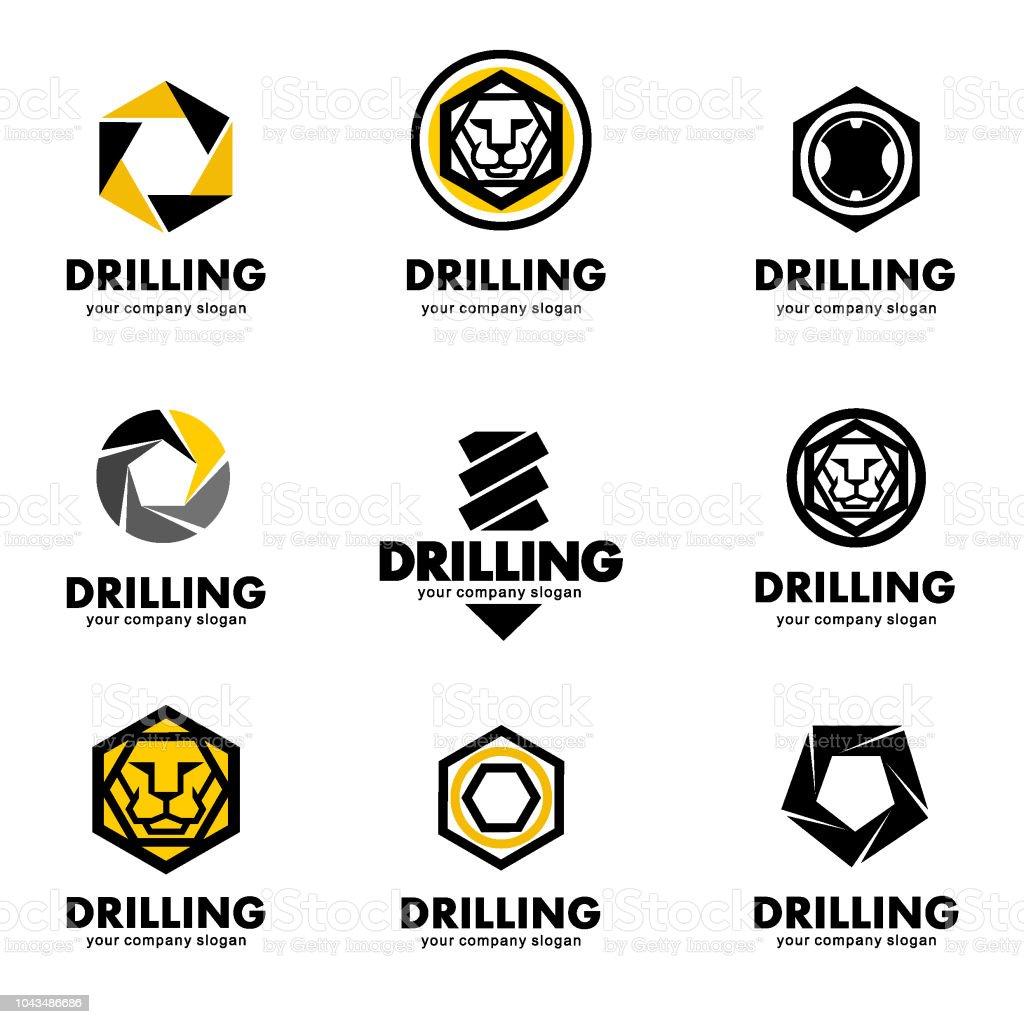 Set of vector design elements for the tool, drill bit, drilling vector art illustration