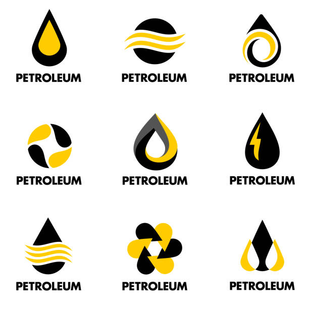 illustrazioni stock, clip art, cartoni animati e icone di tendenza di set of vector design for petroleum products - benzina