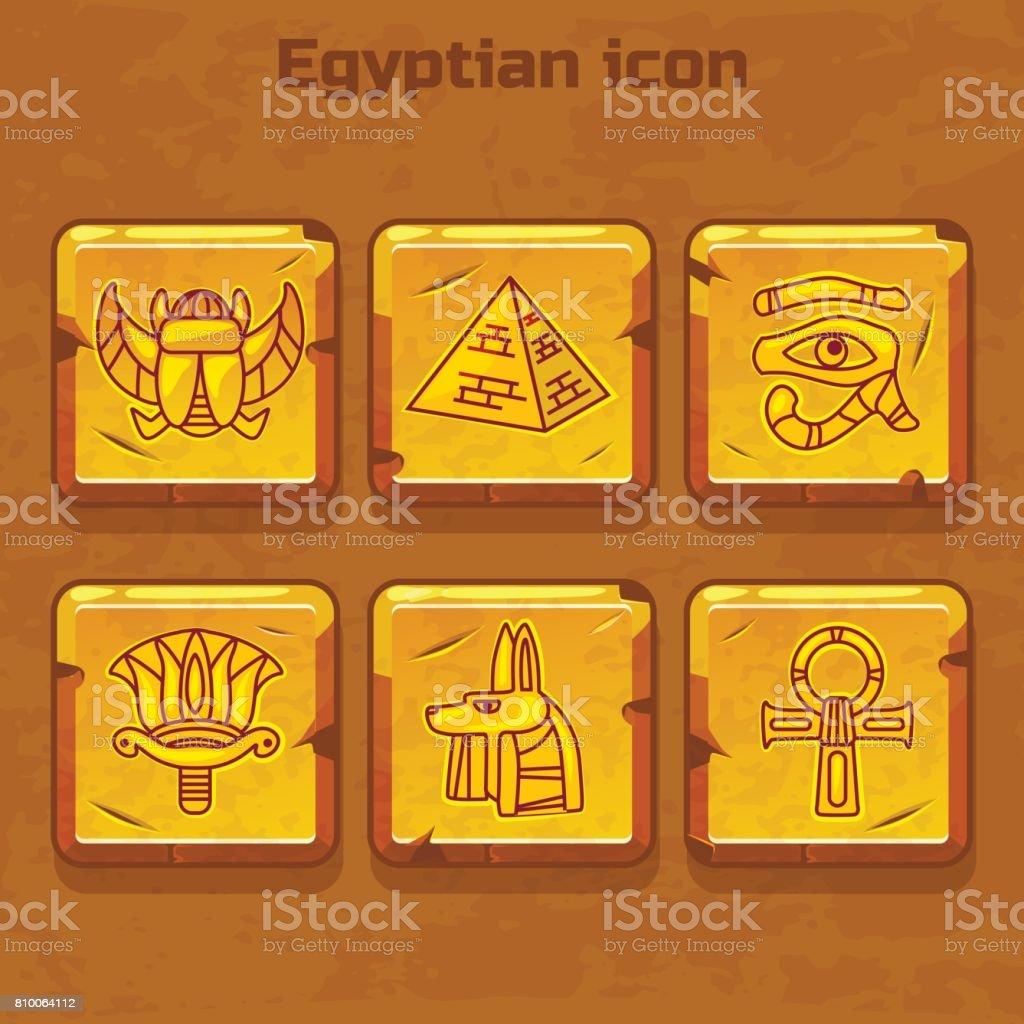 Set of vector design golden egypt travel icons culture ancient elements vector art illustration