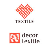 Set of vector design icon for shop knitting, textile, fabric.