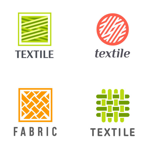 Set of vector design icons for shop knitting, textile, fabric. vector art illustration
