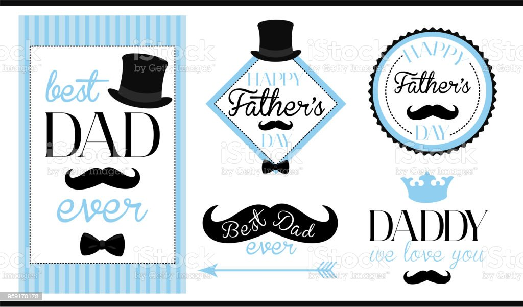 Set of vector design label (badge, sticker, frame) templates. Text: Best dad ever. Happy fathers day. We love you daddy. vector art illustration