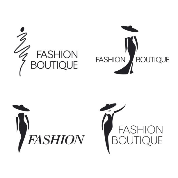 set of vector  design template. fashion sign. - butik stock illustrations
