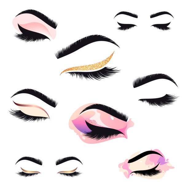Set of vector design template for beauty salon. Lash and Brow icon. vector art illustration