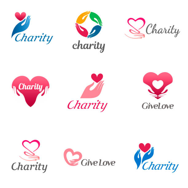 Set of vector design template for charity and care. Set of vector design template for charity and care. Icons for the orphanage, elderly care. charity stock illustrations