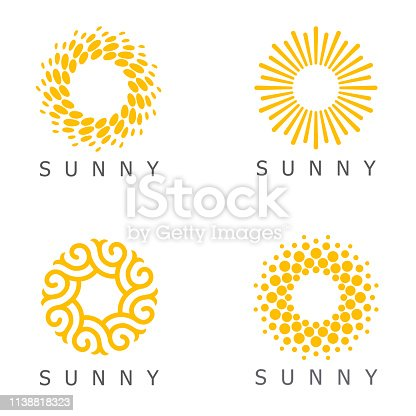 istock Set of vector design template. Sun abstract icons. 1138818323