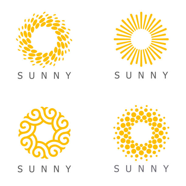 stockillustraties, clipart, cartoons en iconen met set van vector ontwerpsjabloon. zon abstract iconen. - zonnig