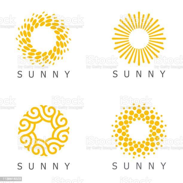 Vetores de Jogo Do Molde Do Projeto Do Vetor Ícones Abstratos De Sun e mais imagens de Abstrato