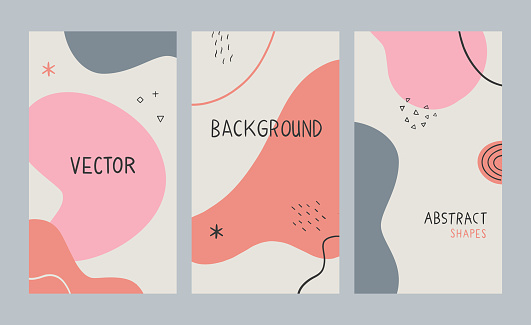 Set of vector design templates with hand drawn abstract shapes and copy space — layouts for banners, flyers, brochures, social media, packaging