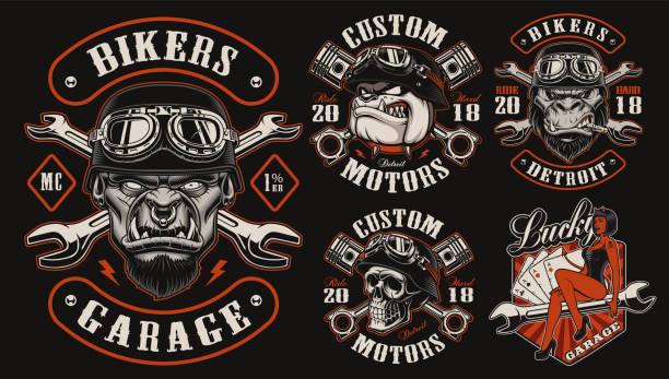 bildbanksillustrationer, clip art samt tecknat material och ikoner med uppsättning av vektor design för biker theme - motorcyklist