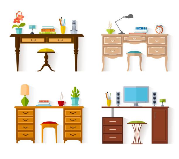 ilustrações, clipart, desenhos animados e ícones de conjunto de desktops vetoriais. - salas de aula