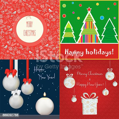 Set of vector different colored cards with decorations dedicated to Christmas and New Year