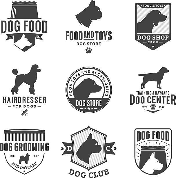 set of vector dog labels and design elements - schoßhunde stock-grafiken, -clipart, -cartoons und -symbole