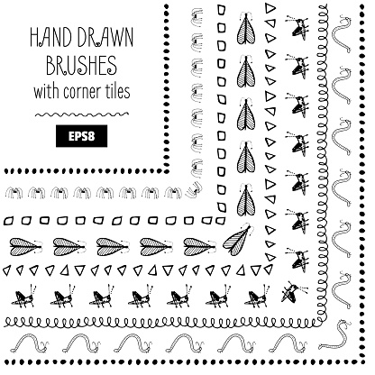 Set of Vector Doodle Decorative Brushes. Hand Drawn Ink Frames or Borders