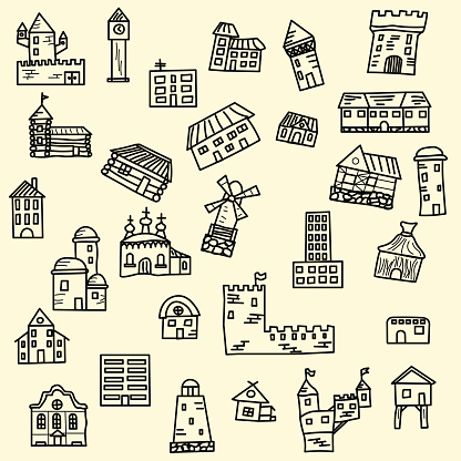 Set of vector doodle houses