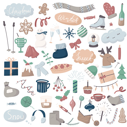 Set of vector doodle icons. Cartoon winter and Christmas pictures. All objects are isolated. Cute multicolored objects and lettering. Background and greeting card decoration.