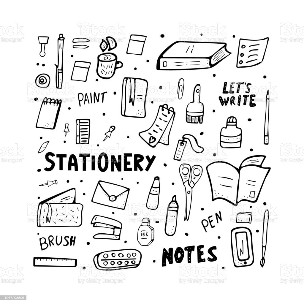 Set Of Vector Doodle Stationery Office Supplies Stock ...