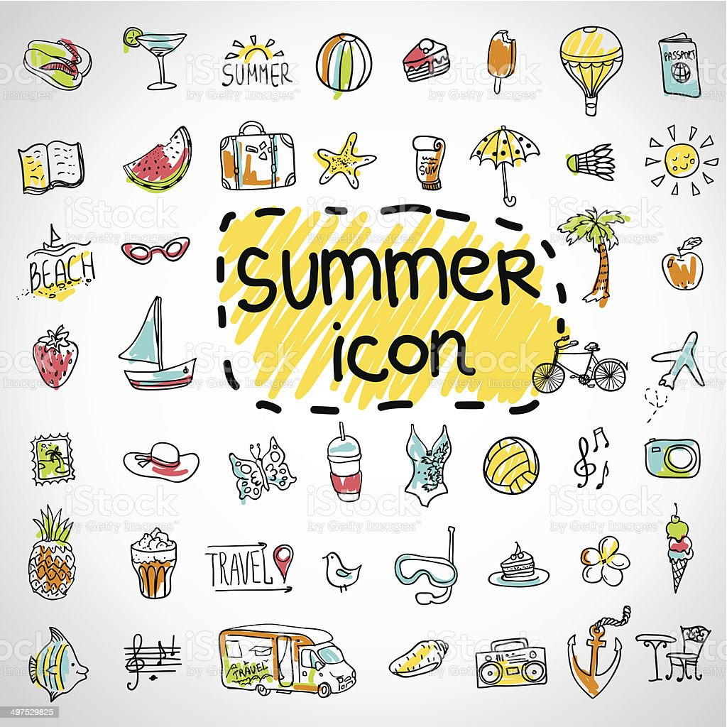 Set of  vector doodle summer icons vector art illustration