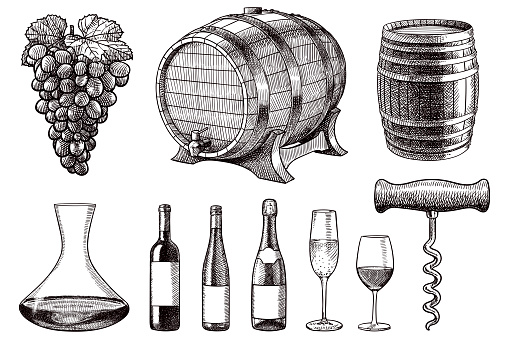 Set of vector drawings of items related to wine