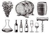 Old style illustration of grapes, barrels, decanter, wine bottles, glasses and corkscrew